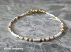 Glossy White & Gold Seed Bead Friendship Anklet | Silver Sensations